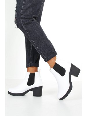 Boohoo White Cleated Chunky Chelsea Boots