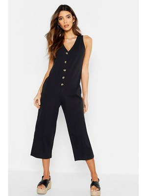 Boohoo Wide Leg Button Jumpsuit