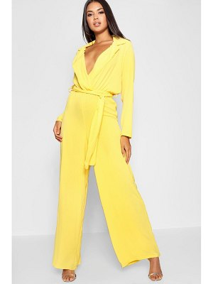 Boohoo Wide Leg Lapel Wrap Belted Jumpsuit