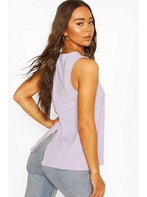 Boohoo Wide Rib Split Back Tank Top