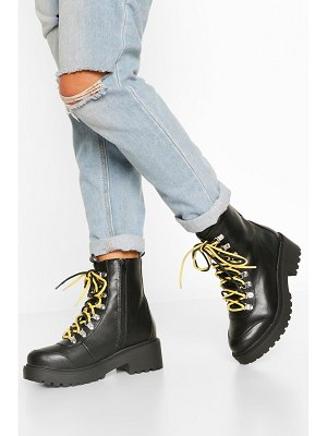 Boohoo Wide Width Double Lace Chunky Combat Boots