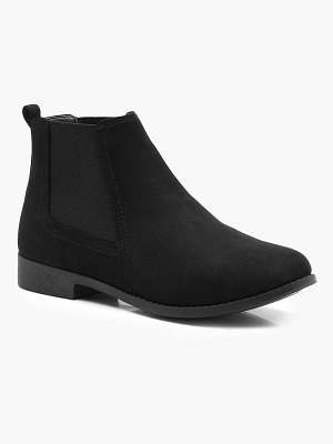 Boohoo Wide Width Suedette Flat Chelsea Boots