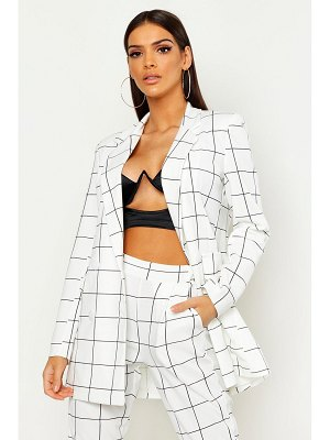 Boohoo Window Pane flannel Double Breasted Blazer
