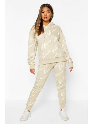 Boohoo Woman All Over Print Hooded Tracksuit