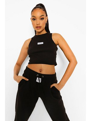 Boohoo Woman Label Detail Thick Rib Crop Top