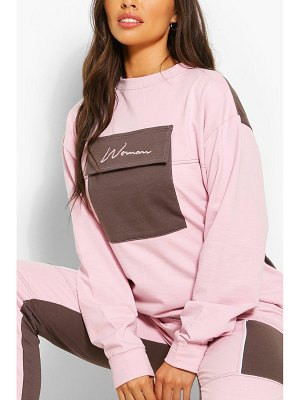 Boohoo Woman Pocket Detail Oversized Sweat
