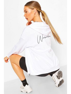 Boohoo Woman Print Oversized Zip Through Hoody
