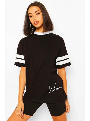 Boohoo Woman Print Sports Stripe T-Shirt