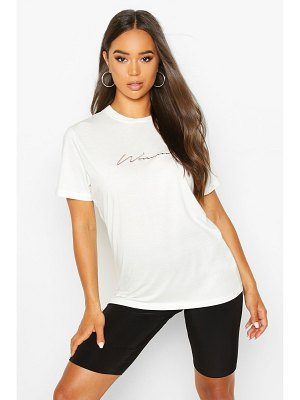 Boohoo Woman Script Embroidered T-Shirt