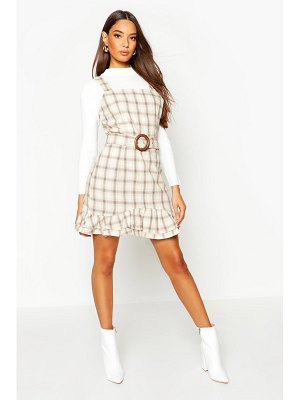 Boohoo flannel Belted Pinafore Dress