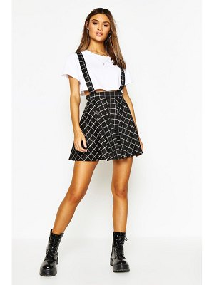 Boohoo Grid Flannel Pinafore Skirt