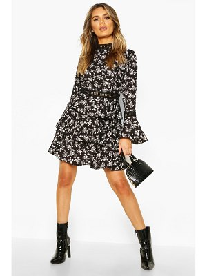 Boohoo High Neck Floral Tiered Skater Dress