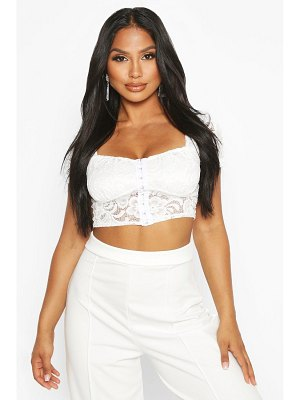 Boohoo Lace Hook And Eye Crop Top