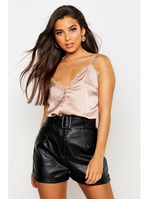 Boohoo Satin Lace Trim Cami Top