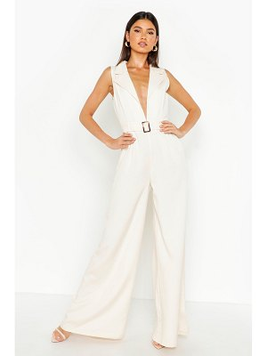 Boohoo Tailored Belted Wide Leg Jumpsuit