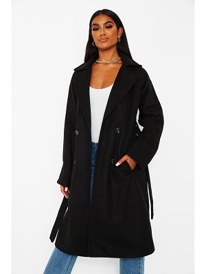Boohoo Wool Look Belted Trench Coat