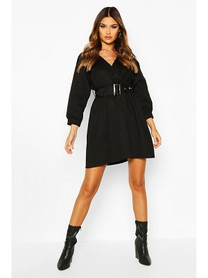 Boohoo Woven Belted Wrap Mini Dress