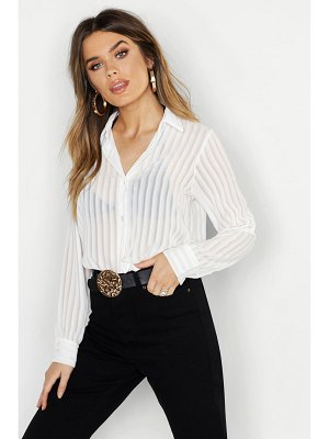 Boohoo Woven Burnt Out Stripe Shirt