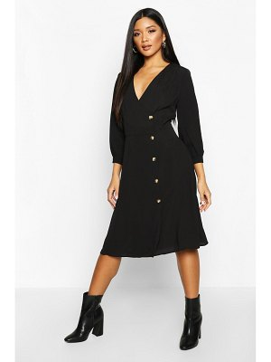 Boohoo Woven Button Detail Puff Sleeve Midi Dress