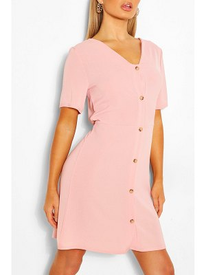 Boohoo Woven Button Through Shift Dress
