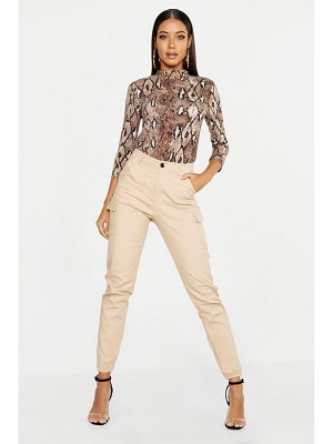 Boohoo High Waist Woven Cargo Pocket Pants