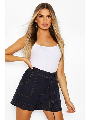 Boohoo Woven Contrast Stitch High Waist Belted Shorts