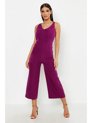 Boohoo Woven Covered Button Jumpsuit