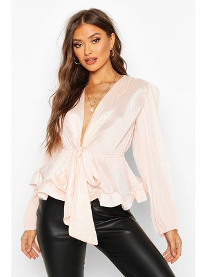 Boohoo Woven Crinkle Tie Front Blouse