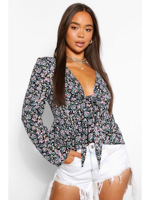 Boohoo Woven Ditsy Tie Front Blouse