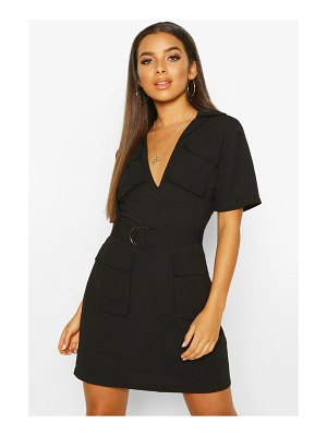 Boohoo Woven Double Pocket Belted Utility Dress