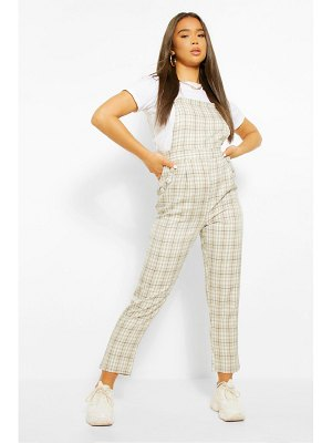 Boohoo Woven Flannel Tapered Leg Pinafore Jumpsuit