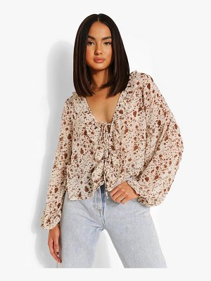 Boohoo Woven Floral Lace Up Ruffle Blouse