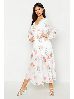 Boohoo Woven Floral Pleated Maxi Dress