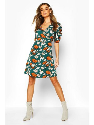 Boohoo Woven Floral Print Puff Sleeve Swing Dress