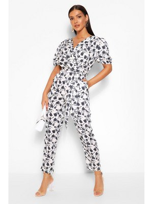 Boohoo Woven Floral Puff Sleeve Tapered Leg Jumpsuit