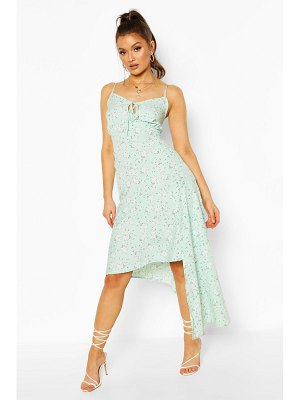 Boohoo Woven Floral Tie Front Asymetric Midi Dress