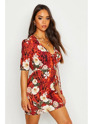 Boohoo Woven Floral Tie Shift Dress