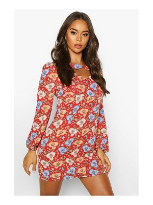 Boohoo Woven Floral Twist Neck Shift Dress