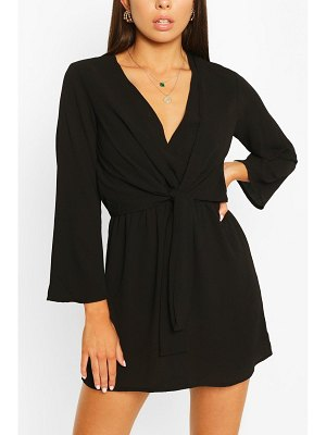 Boohoo Woven Knot Front Wrap Dress