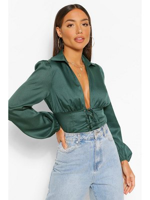 Boohoo Woven Lace Up Corset Top