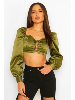 Boohoo Woven Lace Up Crop Top