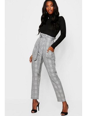 Boohoo Woven Mono flannel Paperbag Slim Fit Pants