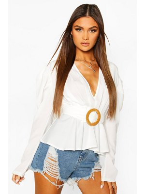 Boohoo Woven Pleated Belted Puff Sleeve Blouse