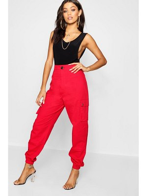 Boohoo High Waist Woven Pocket Cargo Pants