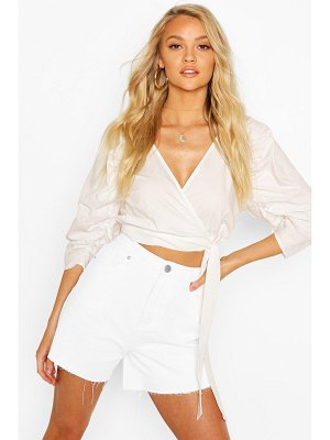 Boohoo Woven Puff Sleeve Wrap Front Blouse