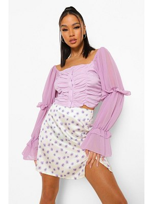 Boohoo Woven Ruched Detail Crop Top