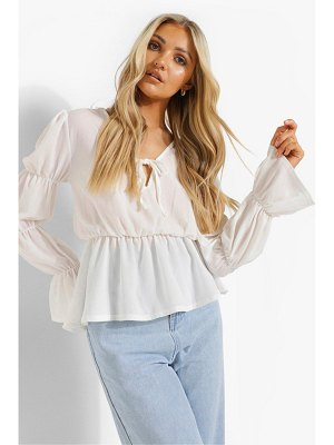 Boohoo Woven Ruched Sleeve Tie Front Blouse