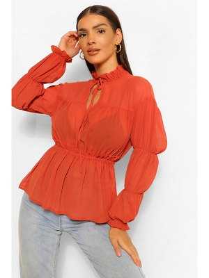 Boohoo Woven Ruched Tie Front Blouse