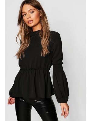 Boohoo Woven Shirred Balloon Sleeve Blouse