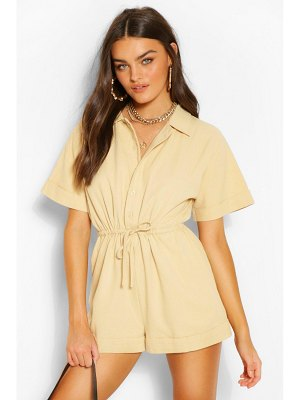Boohoo Woven Short Sleeve Drawstring Utility Romper